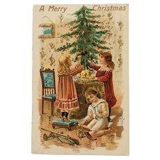 Decorating  Christmas Tree Postcard