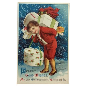 Christmas Delivery Boy In Red- Clapsaddle Postcard