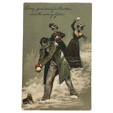 Grown Up Christmas Snowball Fun Postcard