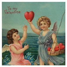 Cupids Fishing For Hearts Postcard