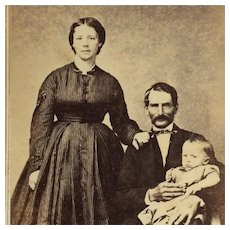 Carte De Visite- Civil War Era Family With Dad Holding Baby