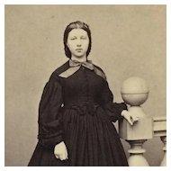 CDV- Civil War Era Beauty In Hoop Skirt
