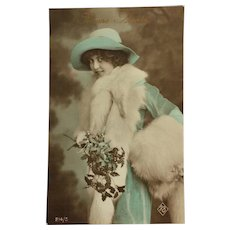 Winter Beauty In Aqua Suit And Hat Tinted Postcard