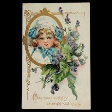 Birthday Girl In White Bonnet And Blue - Brundage