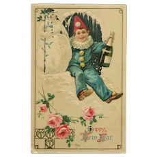 New Year's Clown And Snowman Postcard