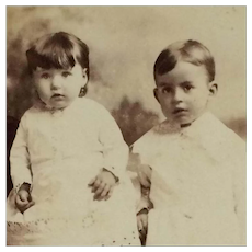 Cabinet Card-  Victorian Era Little Sister And Brother In White Baby Dresses