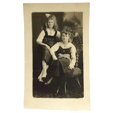 RPPC- Lovely Girls And Laced Up Boots