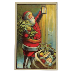 Santa With Lantern At The Door Postcard