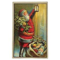 Santa With Lantern At The Door Postcard