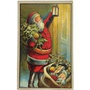 Santa With Lantern At The Door