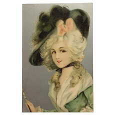 17th Century Beauty And Hat With Pink Bow