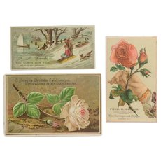 Lot of 3 Christmas Themed Trade Cards