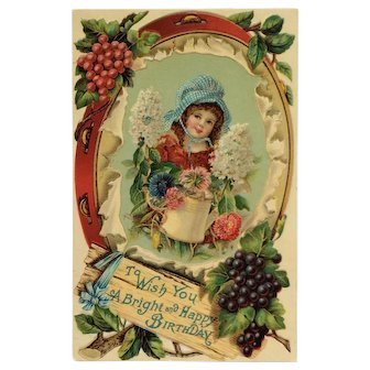 Girl In Garden With Flowers Greeting Postcard