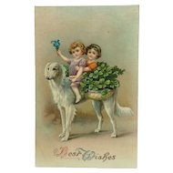 Borzoi Dog with Happy Children
