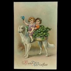 Borzoi Dog with Happy Children