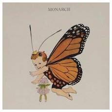 Monarch And Little Wood-Satyr-Butterfly Babies' Print