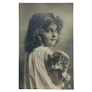 Young Girl And Cuddly Kitty Postcard