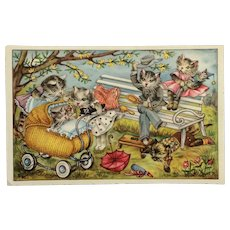 Fantasy Dressed Cat Family In Park Postcard