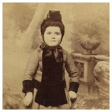 Cabinet Card- Little Girl In Winter Dress And Bonnet