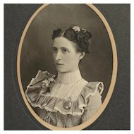 Cabinet Card- Prim Lady In Ruffles With Watch