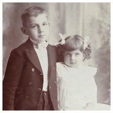 Cabinet Card- Handsome Big Brother With Shy Little Sister
