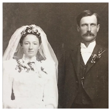Cabinet Card- Beautiful Bride With Daisies And Handsome Groom