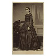 CDV -Standing Civil War Era Lady With Hoop Dress