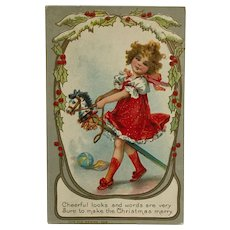 Christmas Toy Stick Horse And Girl-  Unsigned Brundage Postcard