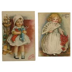 Two Christmas Greeting Cards With Little Girl