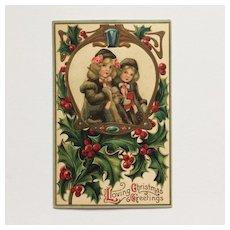 Christmas Girls In Winter Coats Postcard