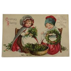 Girls Making Christmas Wreaths Clapsaddle Postcard