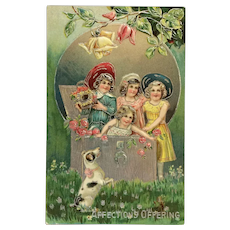 Young Girls And Pup Postcard