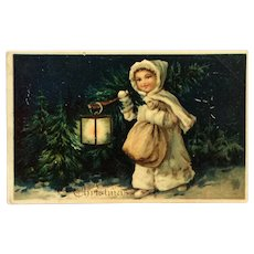 Girl In White On Christmas Eve Postcard