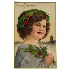 Christmas Girl With Holly