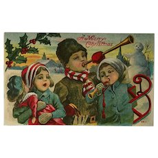 Children's Christmas Concert And Snowman Postcard