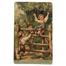 Children At Play On Farm Gate-PFB Postcard