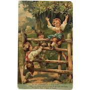 Children At Play On Farm Gate