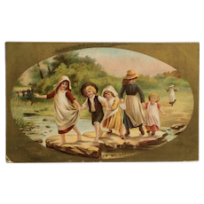 Children Playing Follow The Leader Postcard