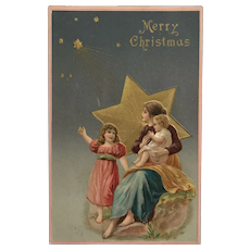 Mother And Children With Star Christmas Postcard