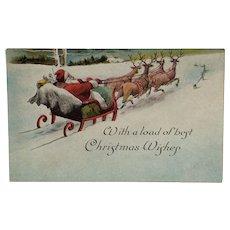 Santa On His Way Postcard