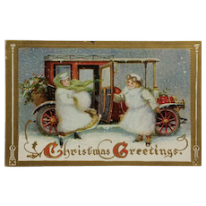 Snow Ladies Ready For Christmas Ride Postcard