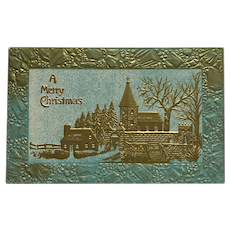 Golden Christmas Village Postcard
