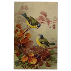 Pair Of Song Birds And Fall Leaves- Catherine Klein
