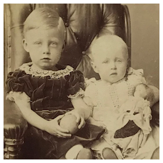 CDV Brother And Sister With Ball And Doll