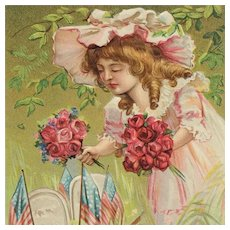 Girl With Flowers For Decoration Day Postcard