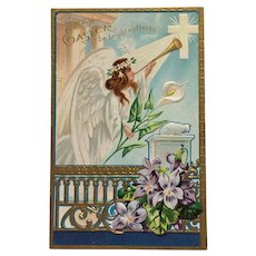 Glorious Winged Easter Angel With Gold Horn