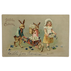 Easter Egg Delivery With Dressed Bunnies