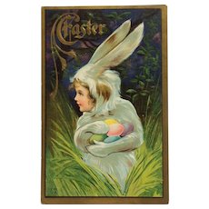 Easter Fantasy Girl In Rabbit Suit With Colored Eggs