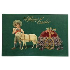 Boy With Lamb Pulling Easter Eggs Cart