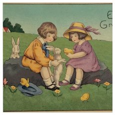 Children With Easter Chicks And Bunnies